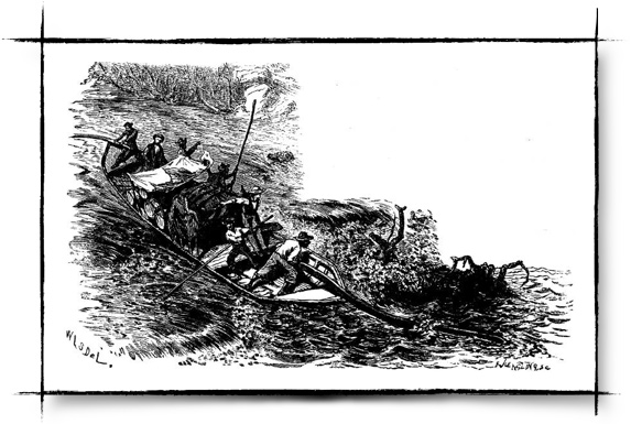 A bateau shoots the rapids.