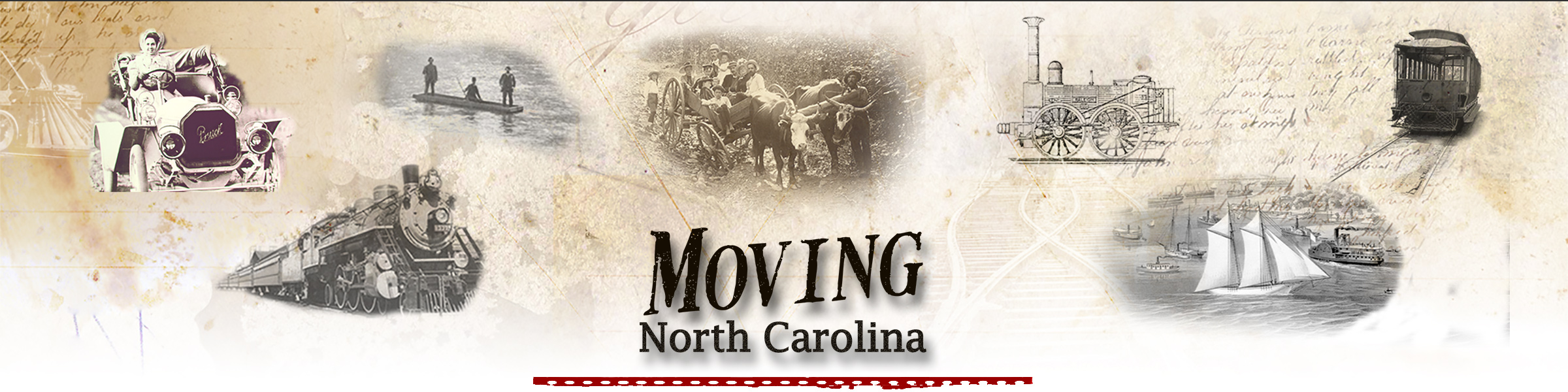A header with various transportation scenes and the site title, Moving North Carolina