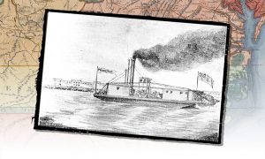 A drawing of the steamboat Prometheus