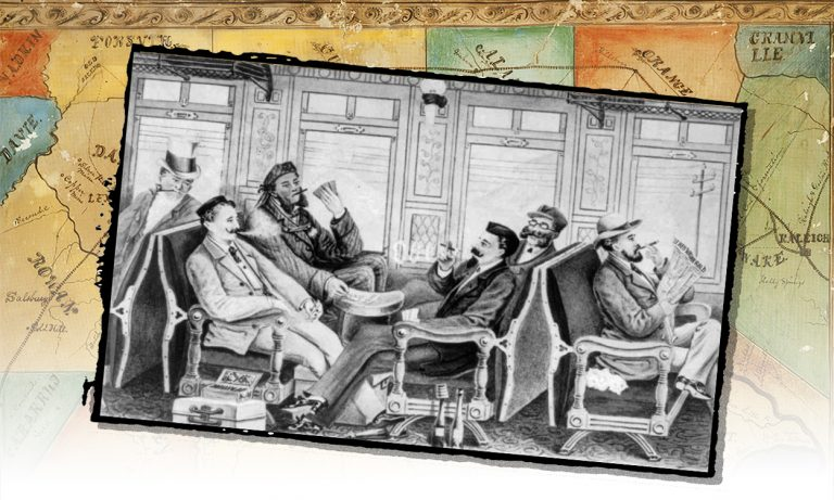 A drawing of an odd assortment of men riding in an early railroad coach