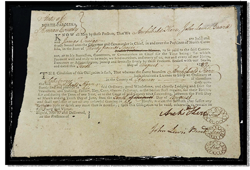 A 1782 license to operate an ordinary in Rowan County NC