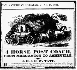 A stagecoach advertisement