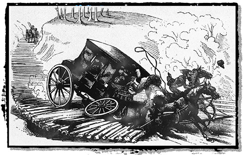 Drawing of a stagecoach accident