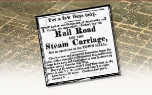 An advertisement for a ride on the first experimental railroad in North Carolina.