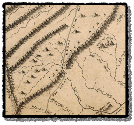 Detail from a 1775 map showing the Great Wagon Road
