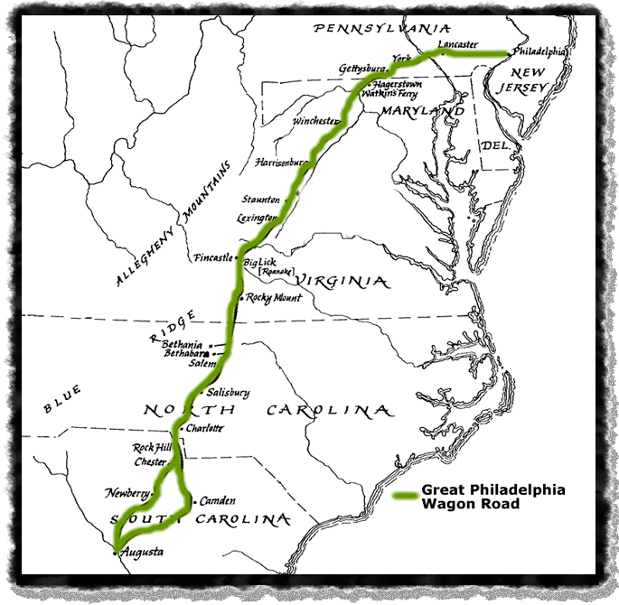 A map showing the route of the Great Wagon Road