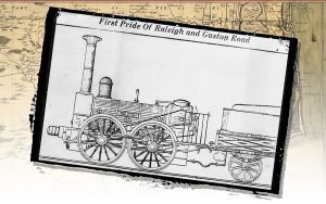 "A drawing of the steam engine ""Raleigh,"" which ran on one of North Carolina's first railroads"