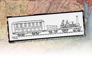 A drawing of a first railroad from the 1830s