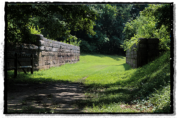 The top of the aqueduct on the historic Roanoke Canal