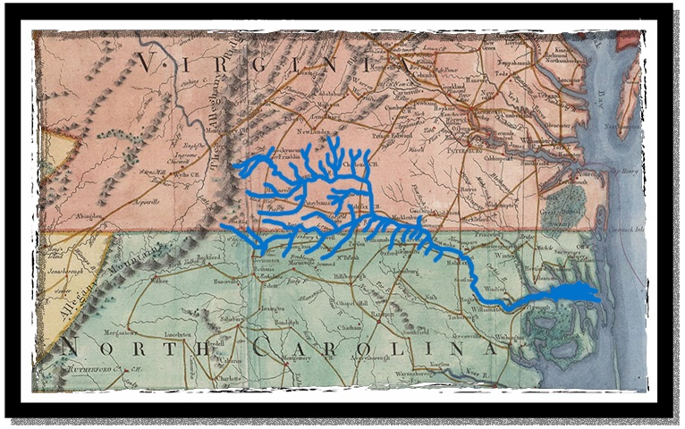 A map of the Roanoke River system