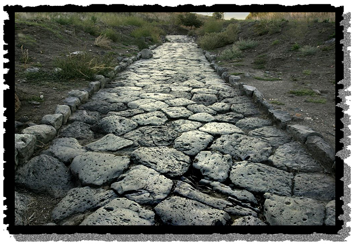 A stone-paved Roman road