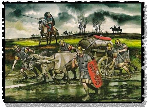 A Roman army supply wagon