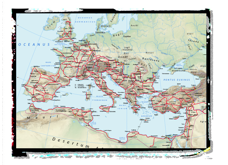 A map of roads of the Roman Empire