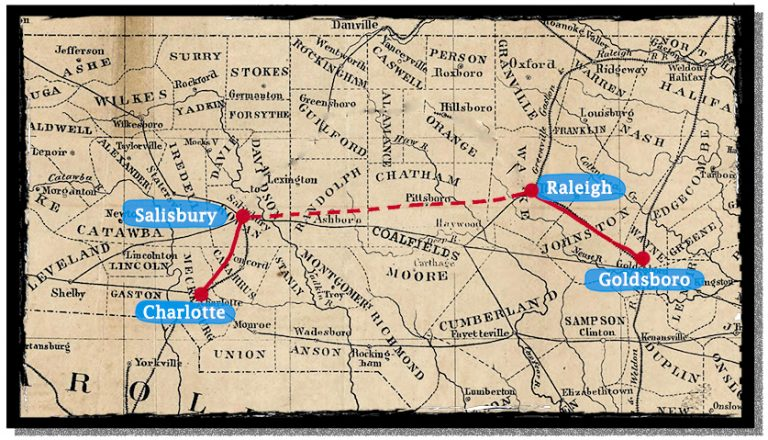 Map of the most direct connection between Goldsboro, Raleigh, Salisbury, and Charlotte