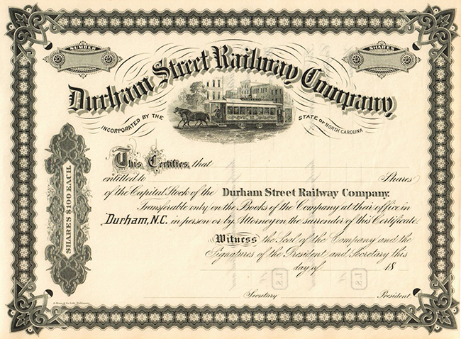 A stock certificate for the Durham Street Railway Company
