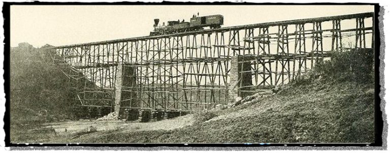 A Civil War wooden railroad trestle