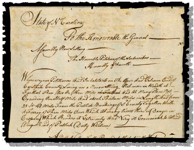 A 1779 North Carolina citizens' petition for a bridge