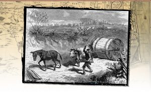 A tobacco hogshead being pulled down a rolling road