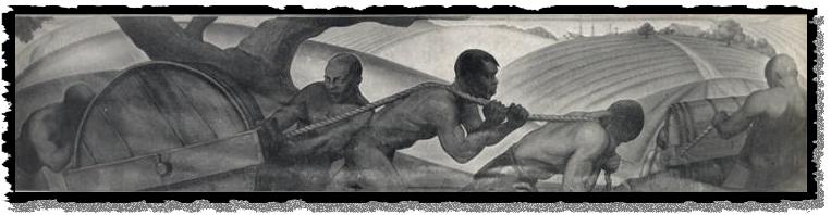 Enslaved men pulling a rolling hogshead