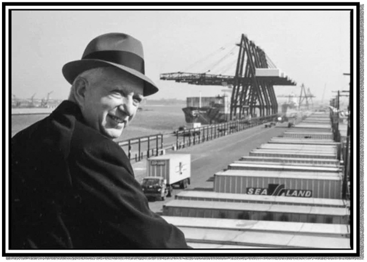 Malcolm McLean surveying containers on the docks