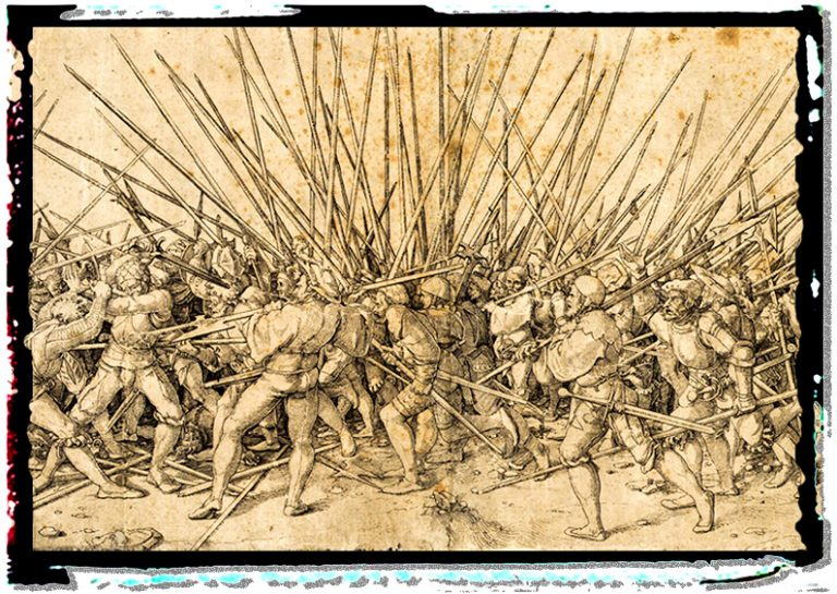 Medieval infantry fighting with pikes as weapons
