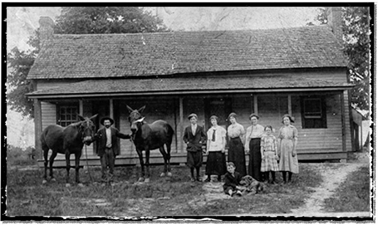 A North Carolina family poses, people and mules.