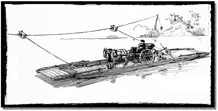 A line drawing of a simple ferry