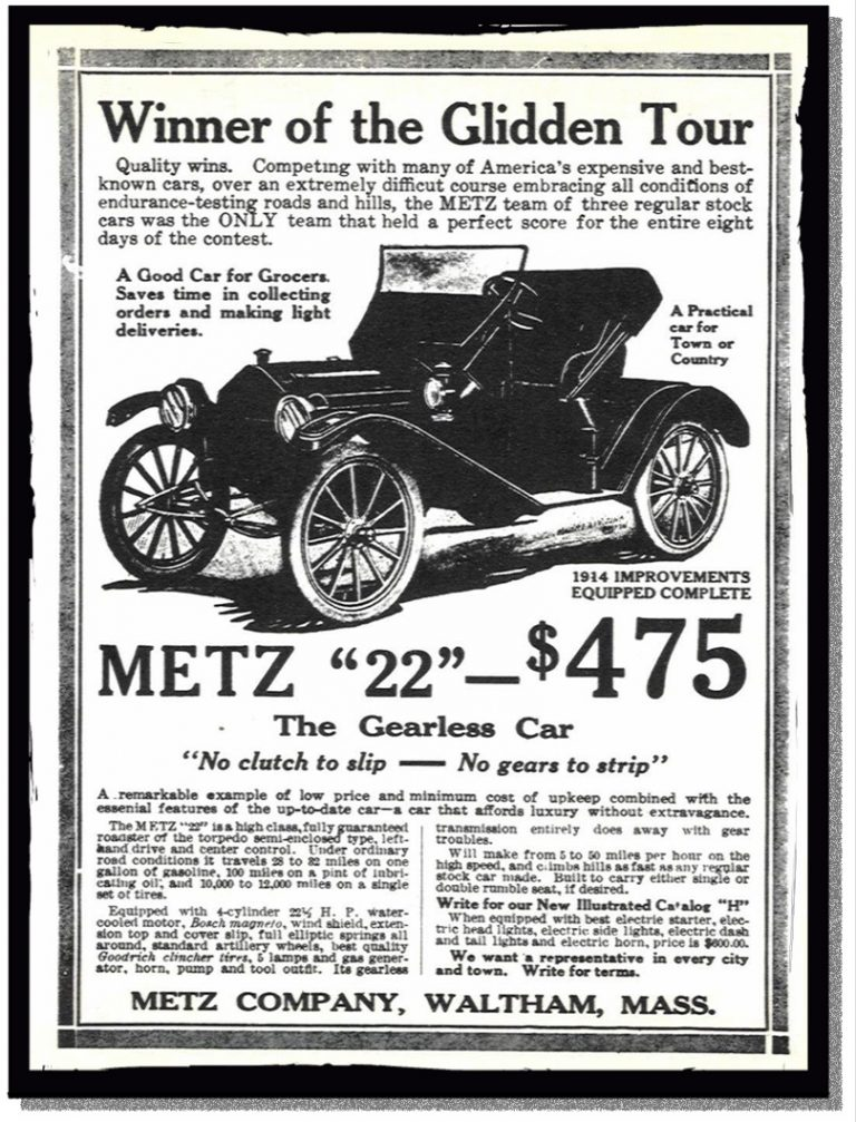 A car advertisement boasting of a win on the Glidden Tour