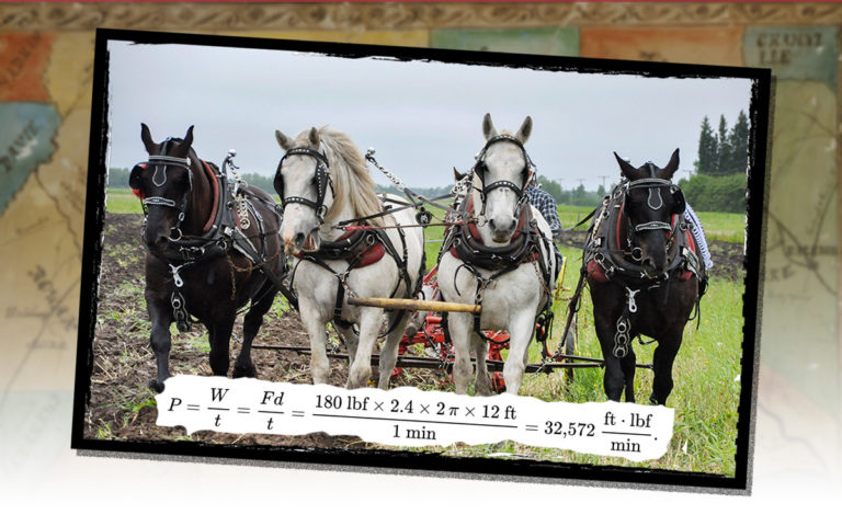 Four draft horses in harness, with the mathematical formula for horsepower superimposed