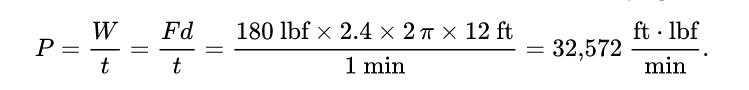 James Watt's mathematical formula to calculate horsepower