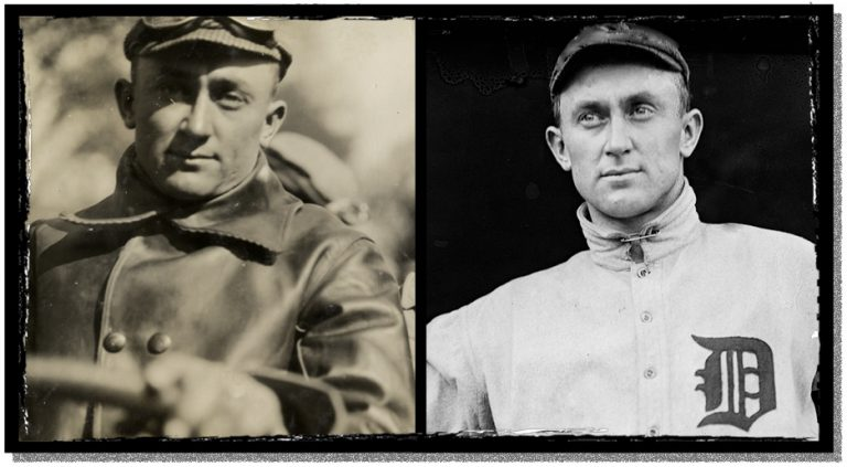 Baseball hero Ty Cobb in uniform and behind the wheel in the Good Roads Run