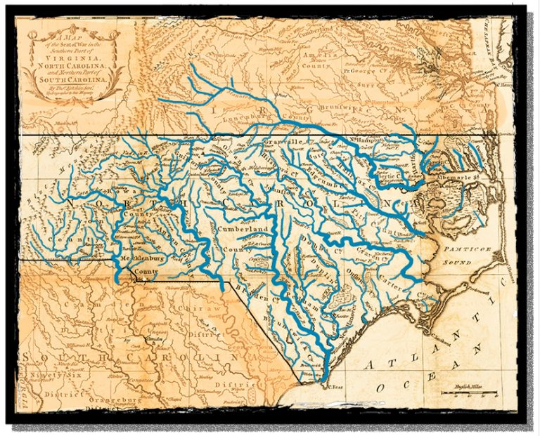 A map showing North Carolina's many rivers