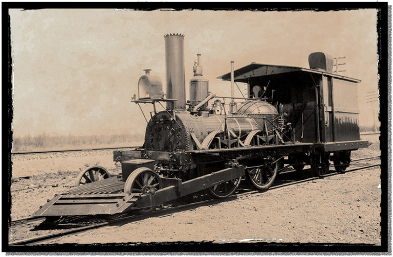 "The ""John Bull"" steam engine with early cowcatcher"