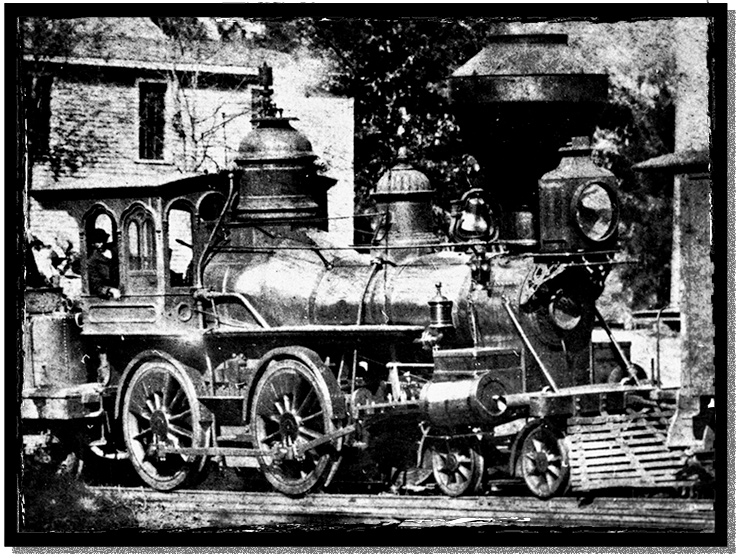 A cowcatcher-equipped steam engine of the North Carolina Rail Road
