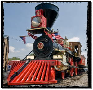 A brightly painted restored steam engine