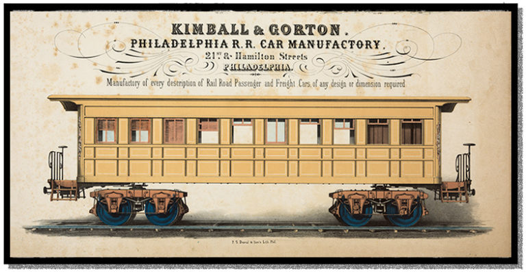 A bright yellow 1800s railroad coach car