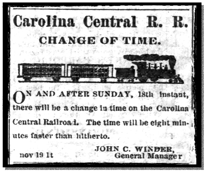"Newspaper notice on November 18, 1883 of a ""change of time"""