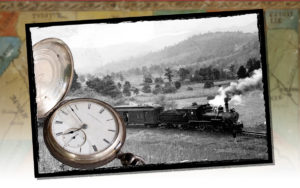 A steam engine dominated by a conductor's pocket watch