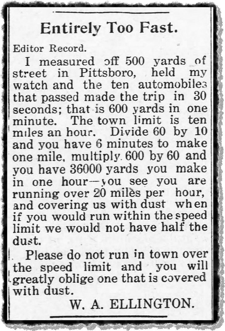 A 1921 letter to the Pittsboro Record complaining about automobiles speeding in town