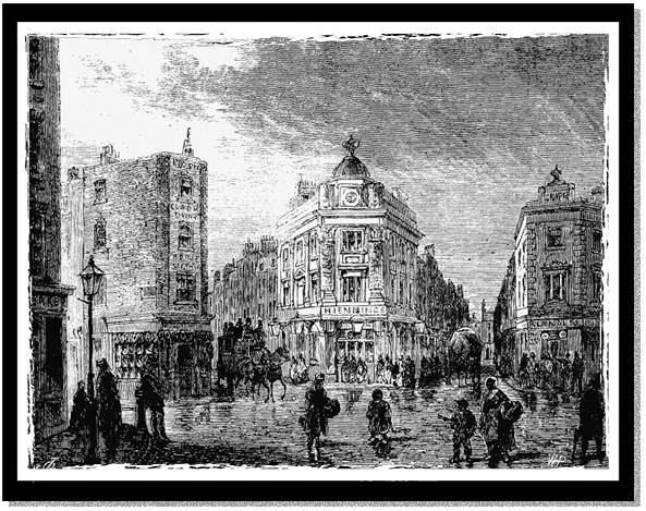 An etching of the Seven Dials intersection in London