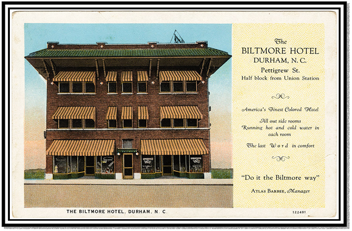 An advertisement for the Biltmore Hotel in Durham, NC