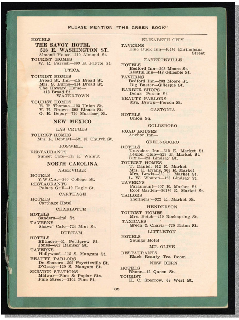A page of North Carolina listings in the Green Book