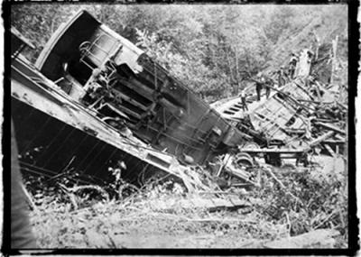 Wreckage below Bostian Bridge