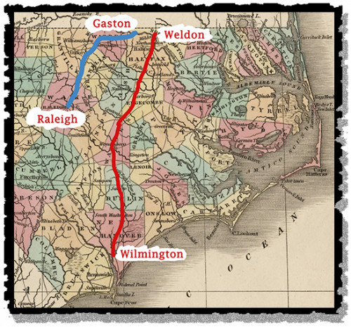 A map of the Wilmington & Weldon and Raleigh & Gaston Railroads, 1840