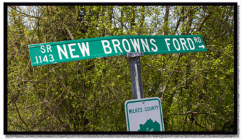Road sign: New Brown's Ford Road