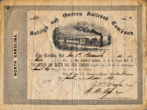 Stock Certificate for the Raleigh & Gaston Railroad, one of North Carolina's first railroads.