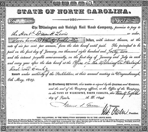 Stock Certificate for the Wilmington & Raleigh Railroad, one of North Carolina's first railroads.